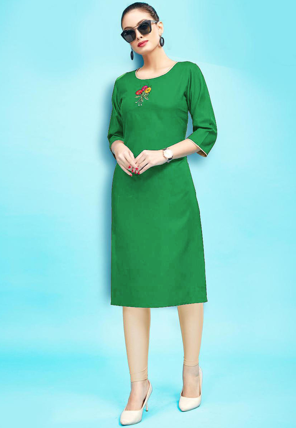 Green Rayon Readymade Tunic 214372