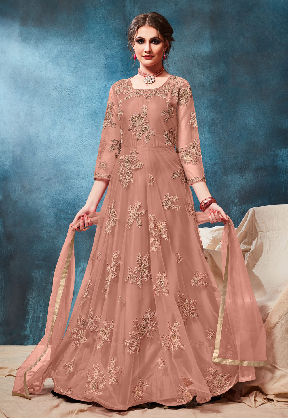 Peach Net Embroidered Abaya Style Anarkali Suit 190772