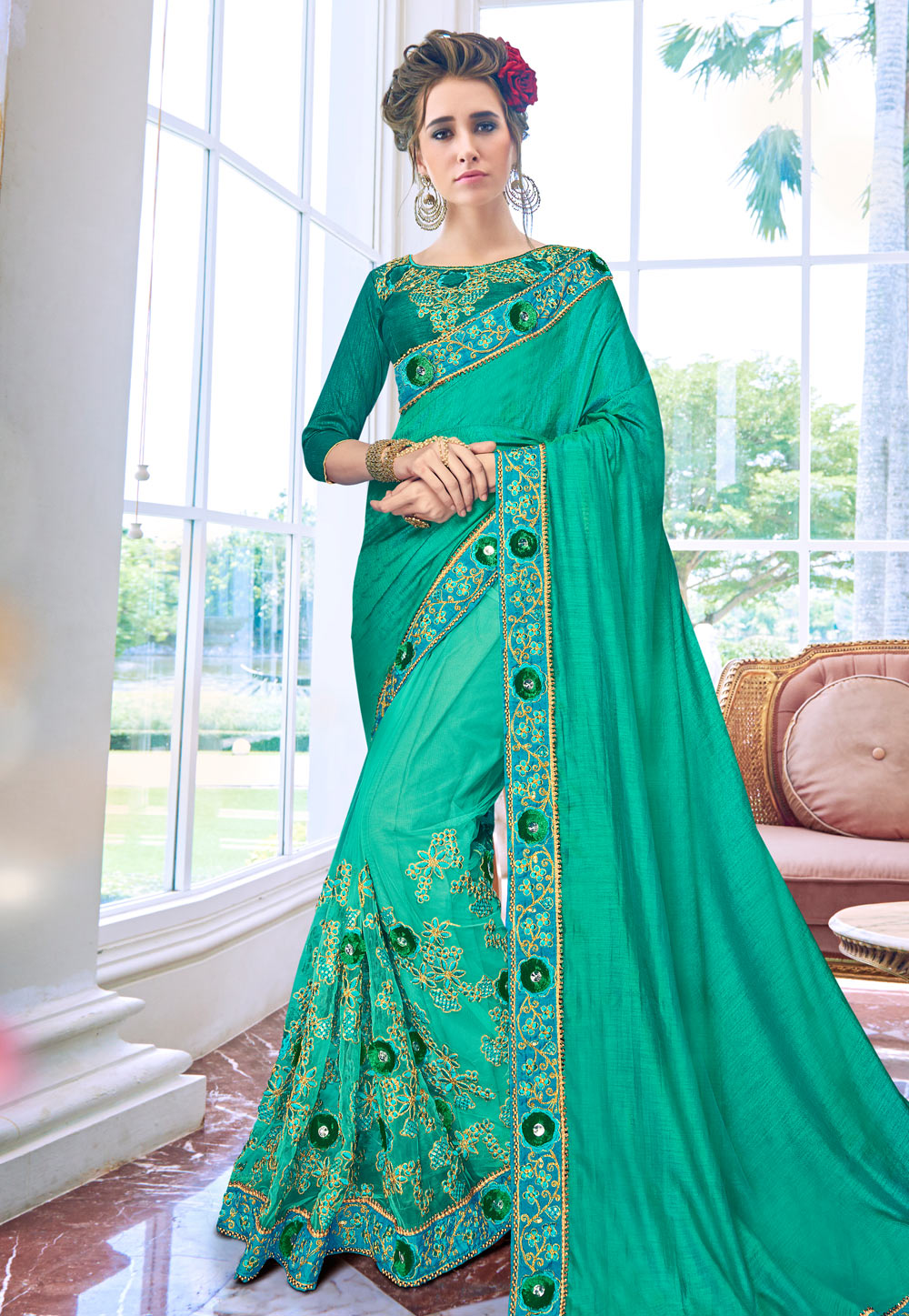 Sea Green Net Saree With Blouse 182423