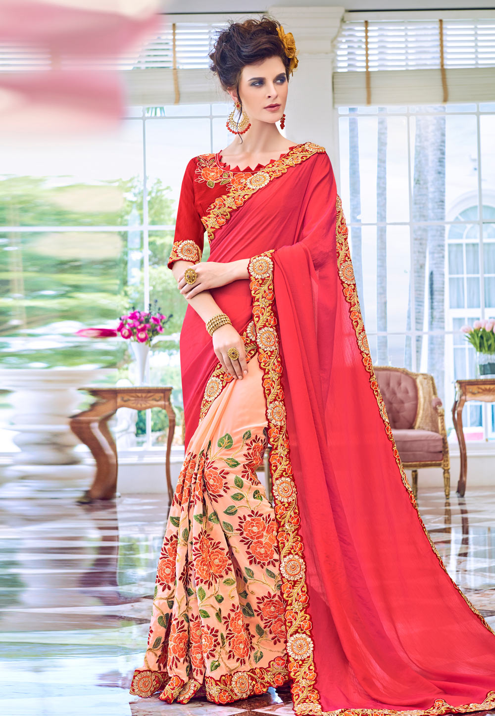 Red Georgette Half and Half Saree 182424