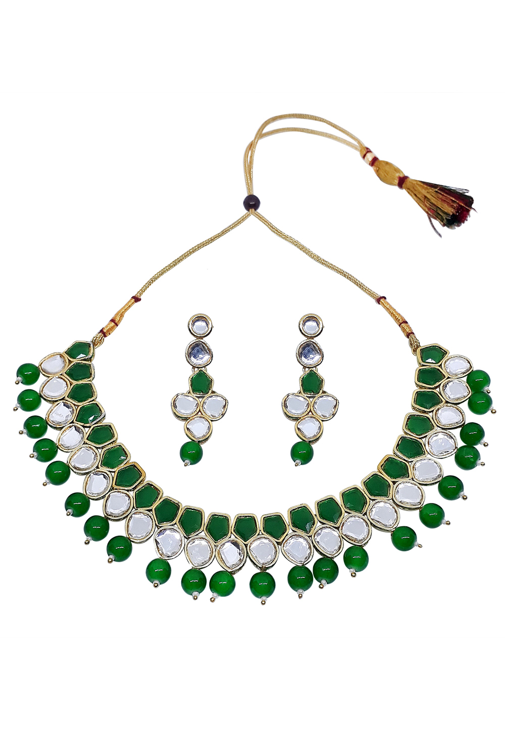 Green Alloy Austrian Diamond Necklace Set With Earrings 166399