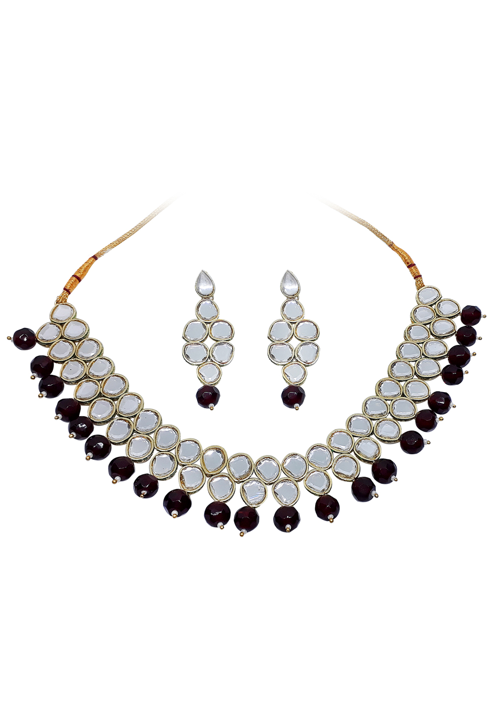 Maroon Alloy Austrian Diamond Necklace Set With Earrings 166400