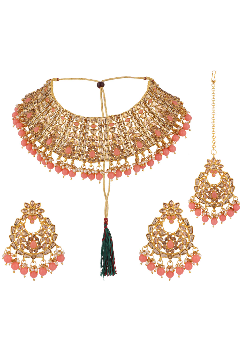 Pink Alloy Necklace Set With Earrings and Maang Tikka 223059