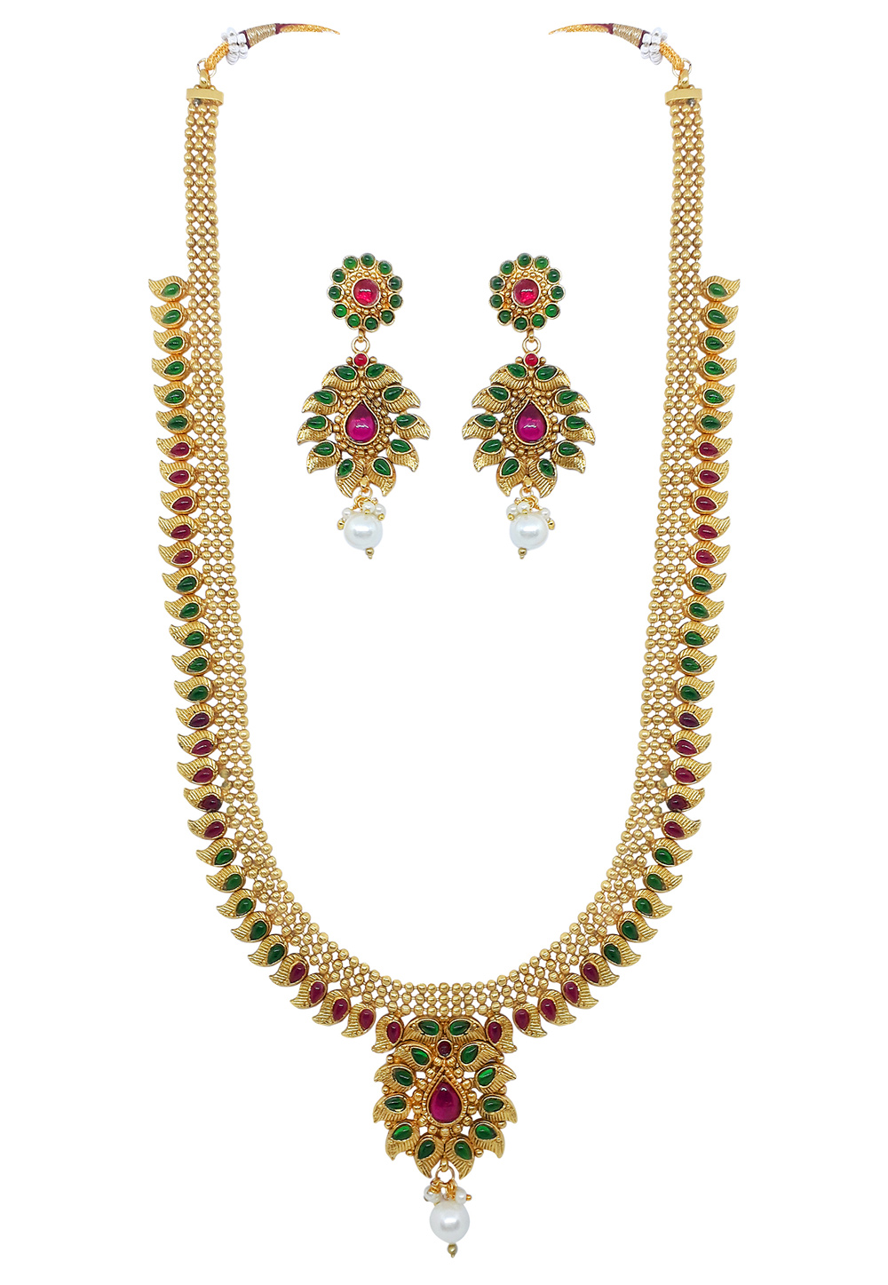 Green Alloy Austrian Diamond Necklace Set With Earrings 166405