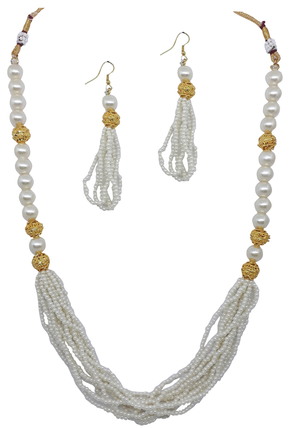 White Alloy Austrian Diamond Necklace Set With Earrings 166416