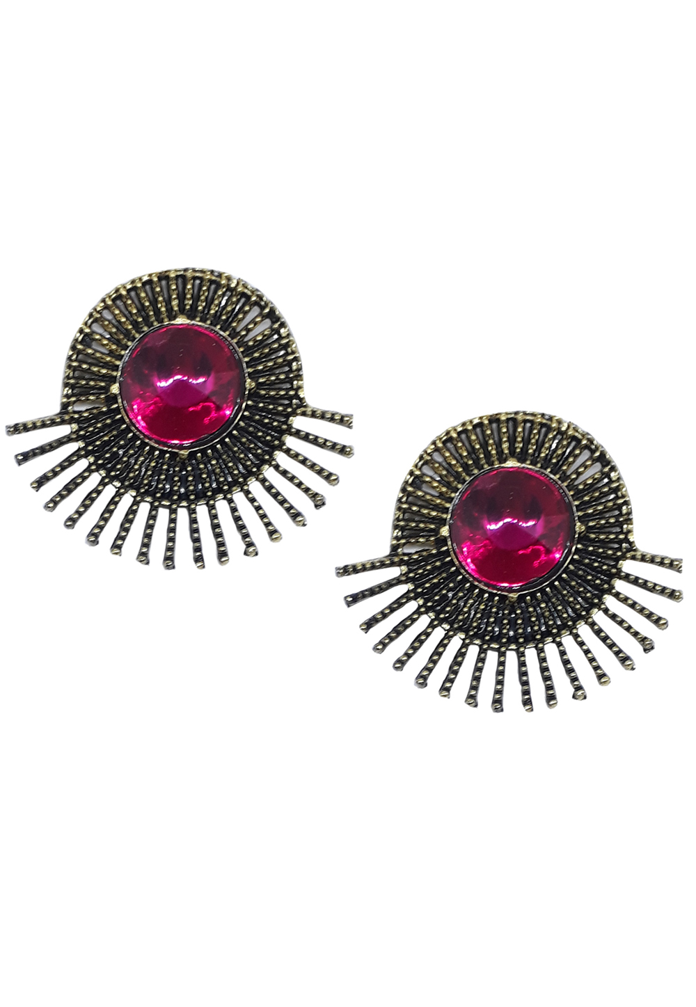 Pink Brass Pearl Earrings 172000