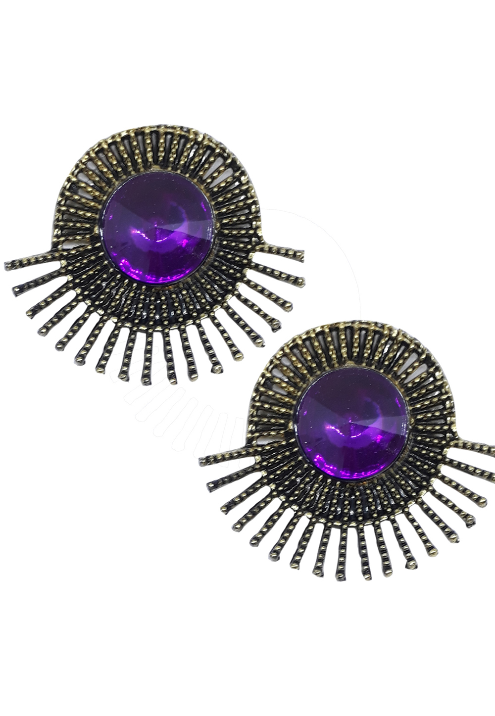 Purple Brass Pearl Earrings 172005