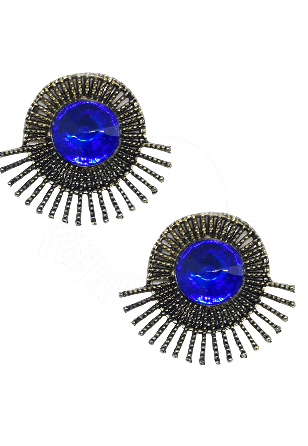 Blue Brass Pearl Earrings 172007