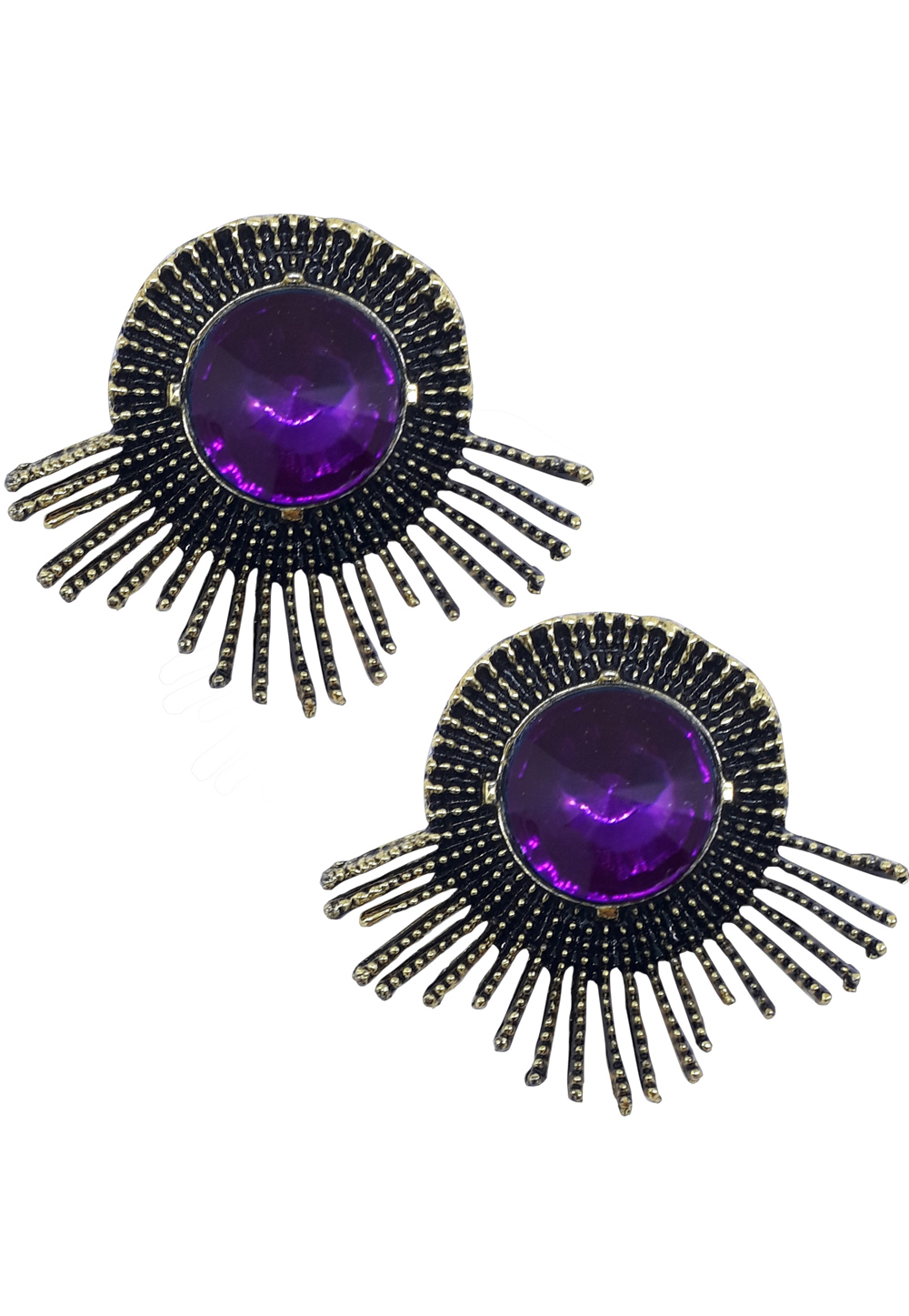 Purple Brass Pearl Earrings 172019