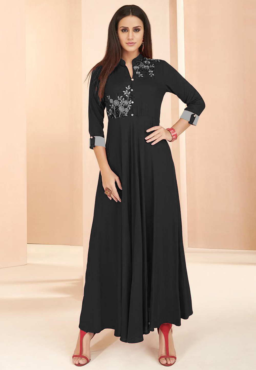 Black Rayon Readymade Tunic 214380