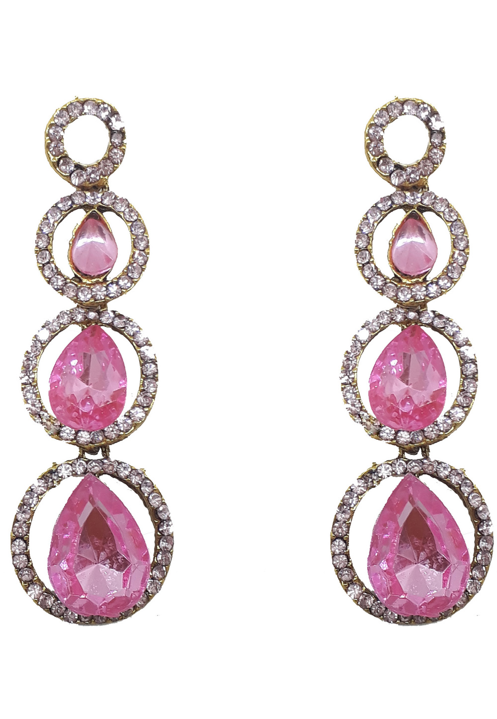 Pink Brass Pearls Earrings 179588