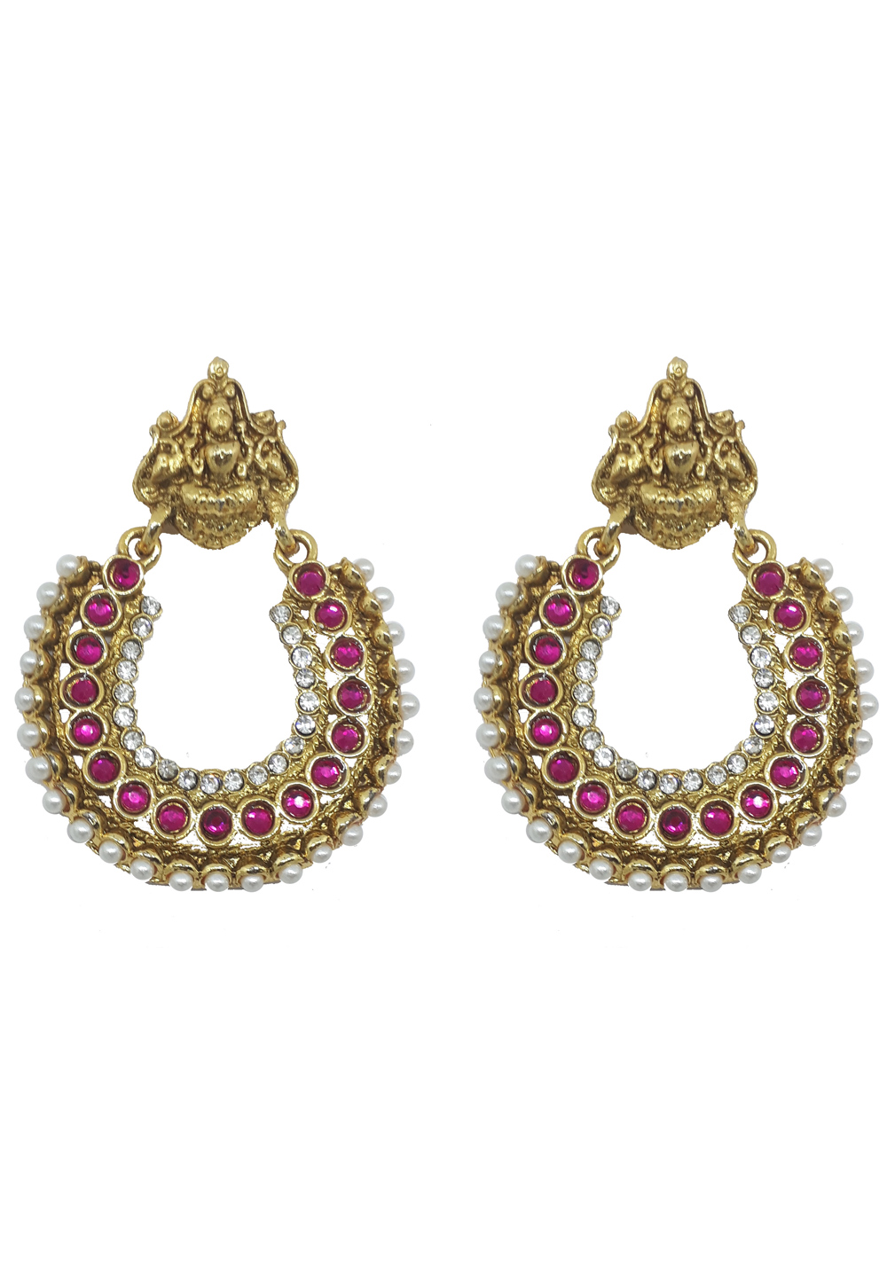 Pink Brass Pearls Earrings 179589