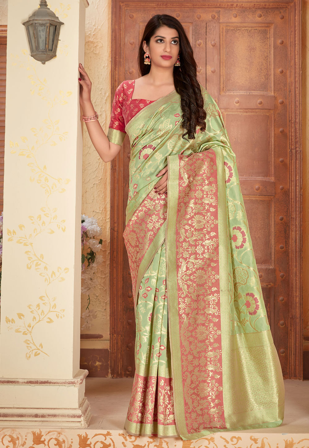Light Green Banarasi Silk Saree With Blouse 205045