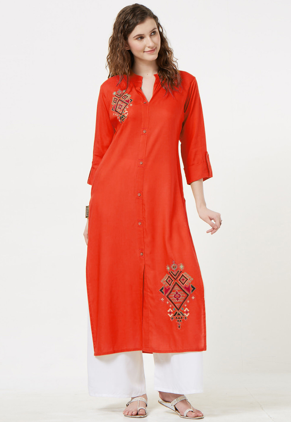 Orange Rayon Readymade Tunic 214390