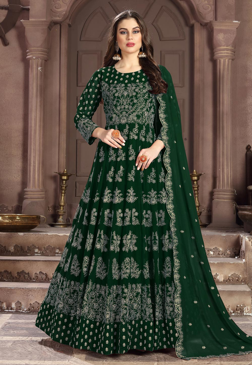 Green Georgette Long Anarkali Suit 195587