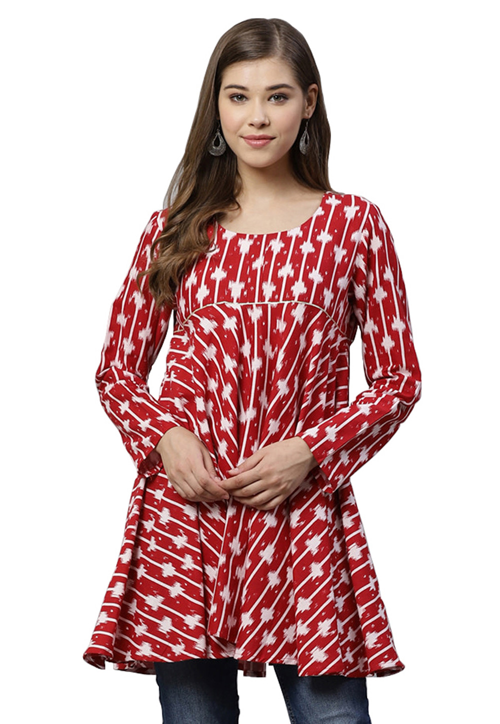 Red Cotton Readymade Printed Tops 203365