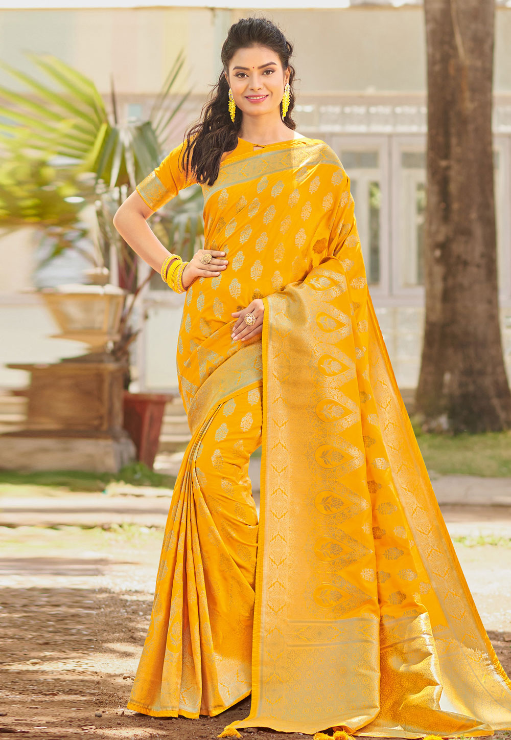Yellow Silk Festival Wear Saree 205291