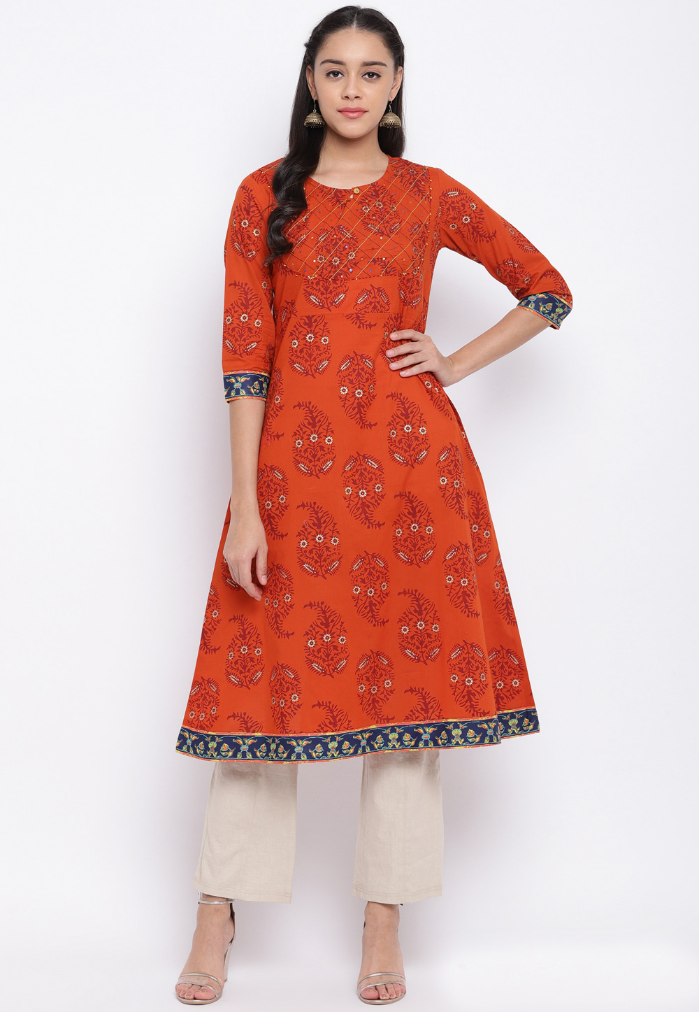 Orange Cotton Readymade Kurti 205423