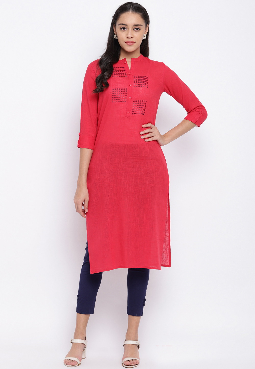 Red Cotton Readymade Tunic 205430