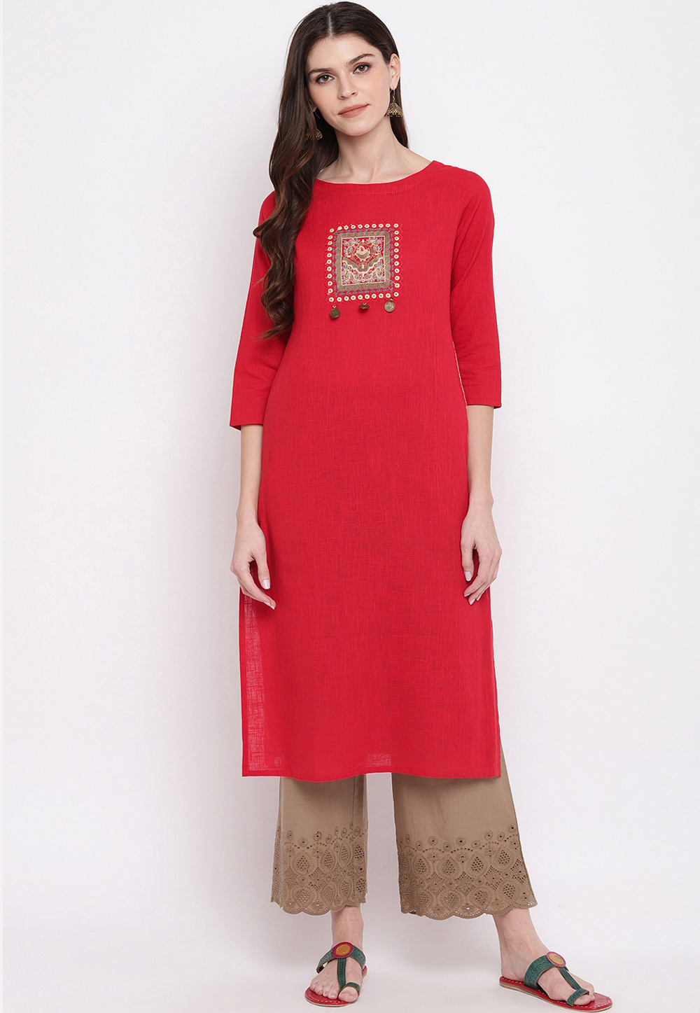 Red Cotton Readymade Tunic 205441