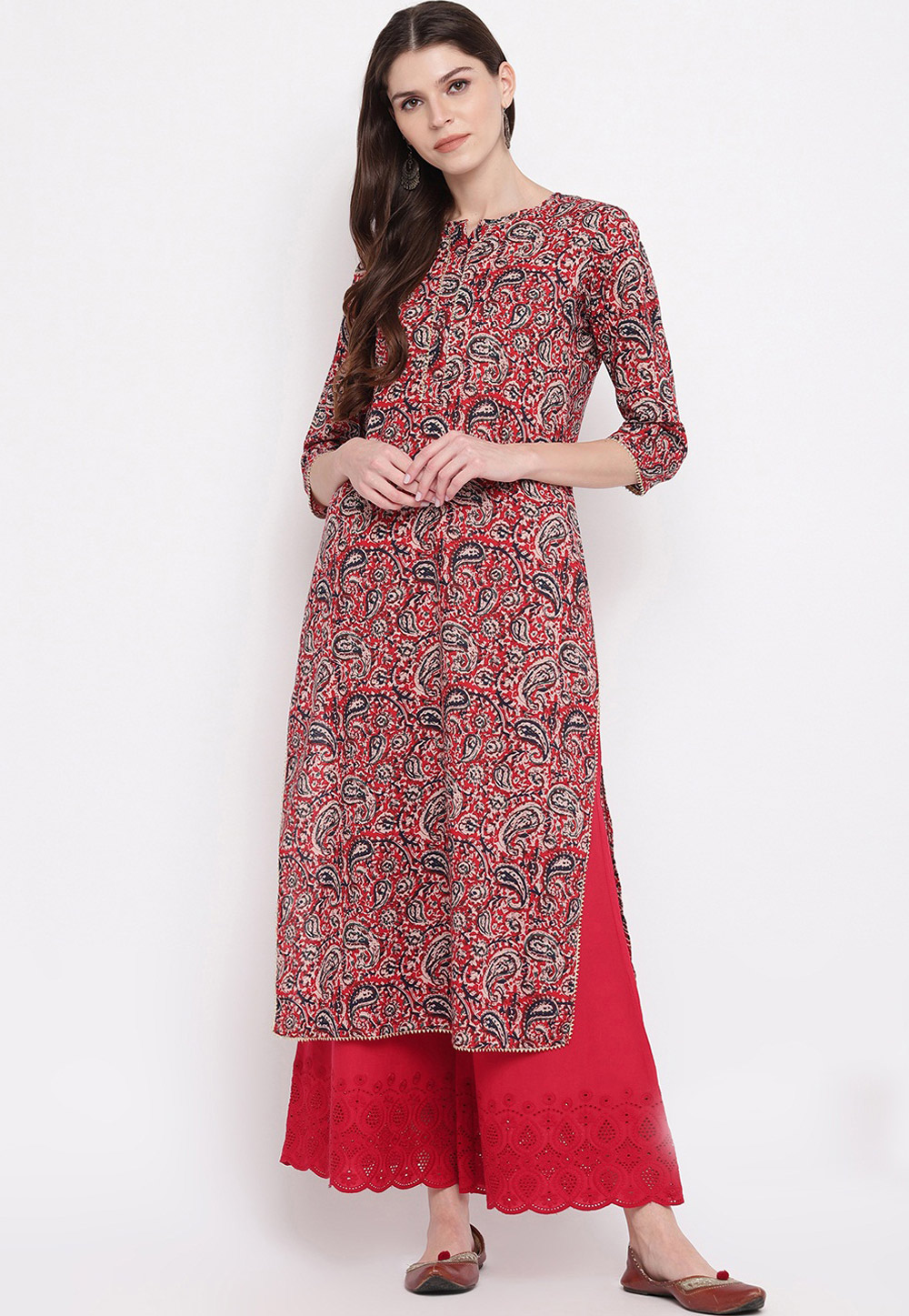 Red Cotton Readymade Tunic 205451