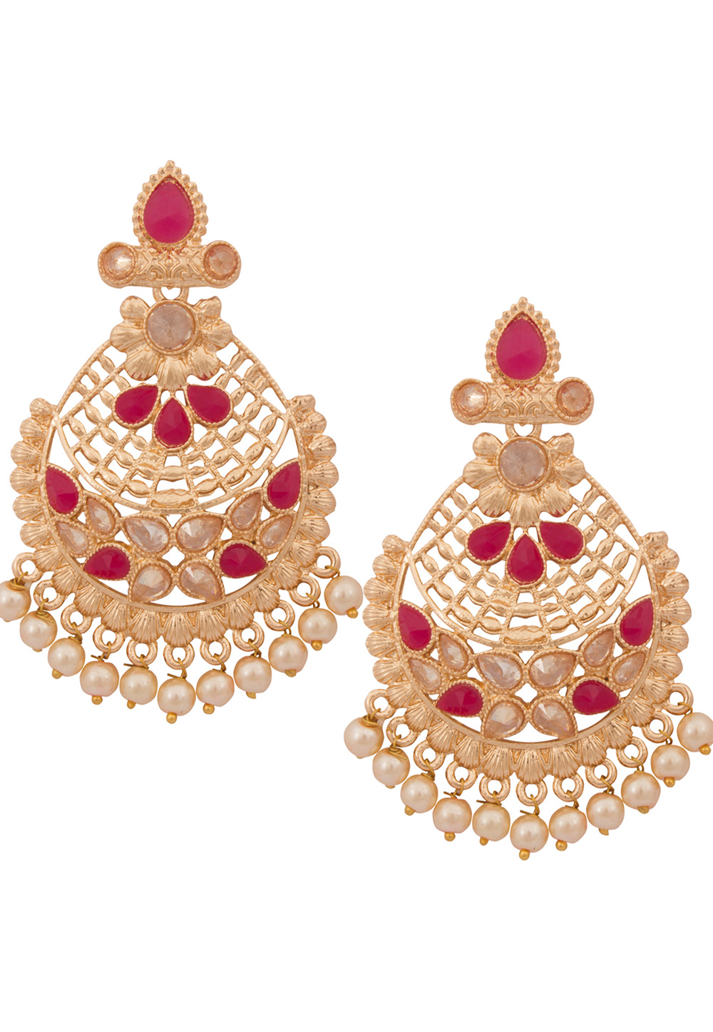 Pink Alloy Earrings 179746