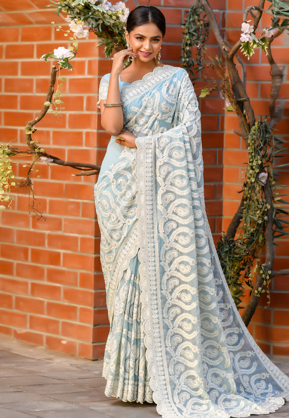 Sky Blue Shimmer Saree With Blouse 205778