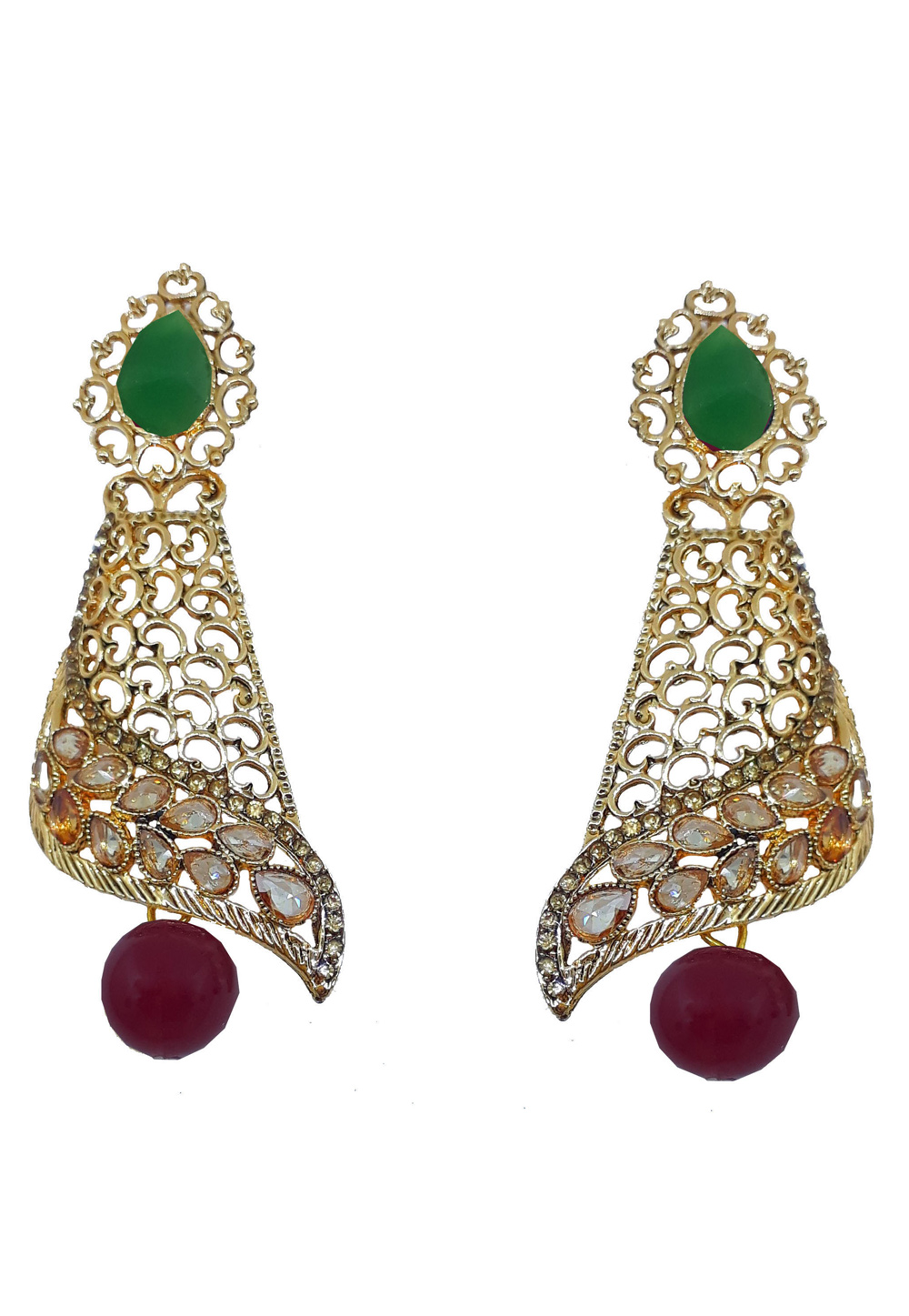 Maroon Brass Earrings 184172