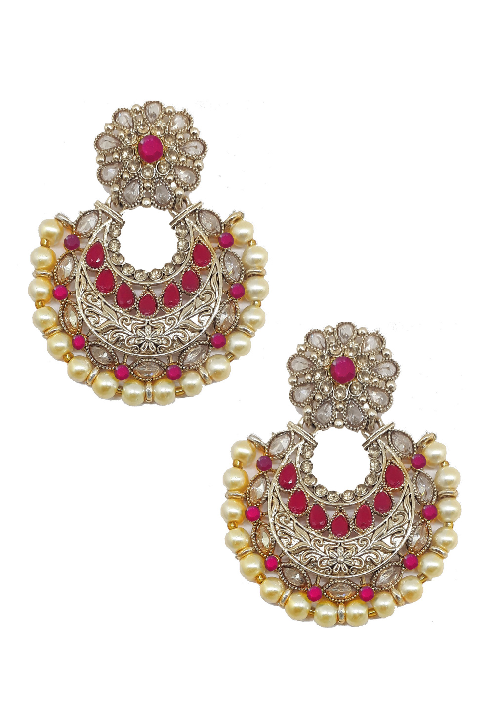 Maroon Brass Earrings 184175