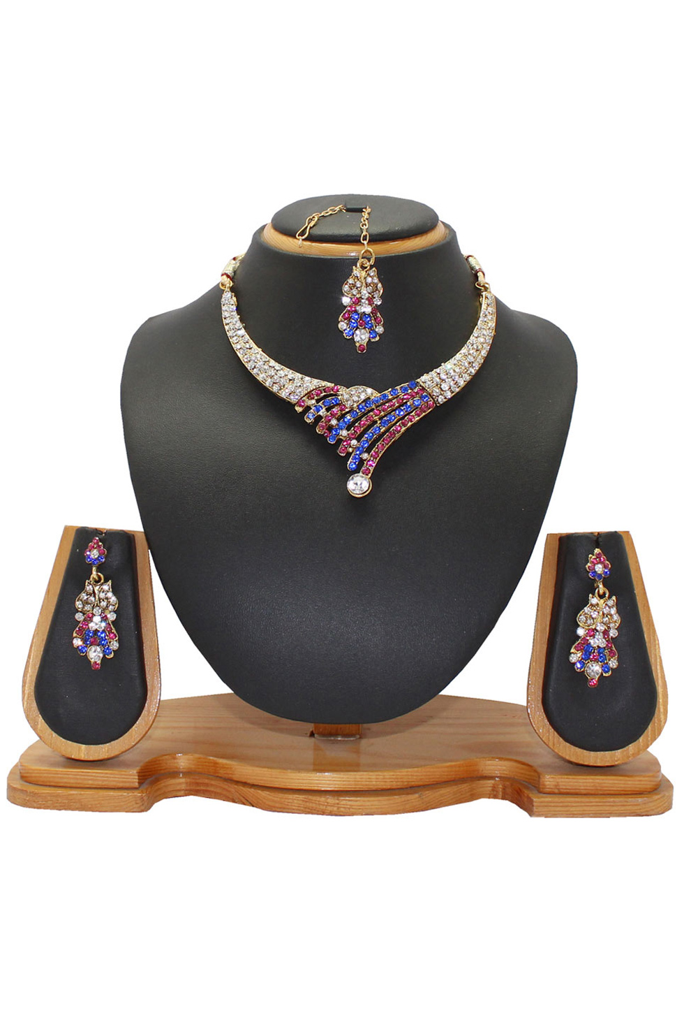 Blue Alloy Austrian Diamonds Necklace With Earrings and Maang Tikka 64337