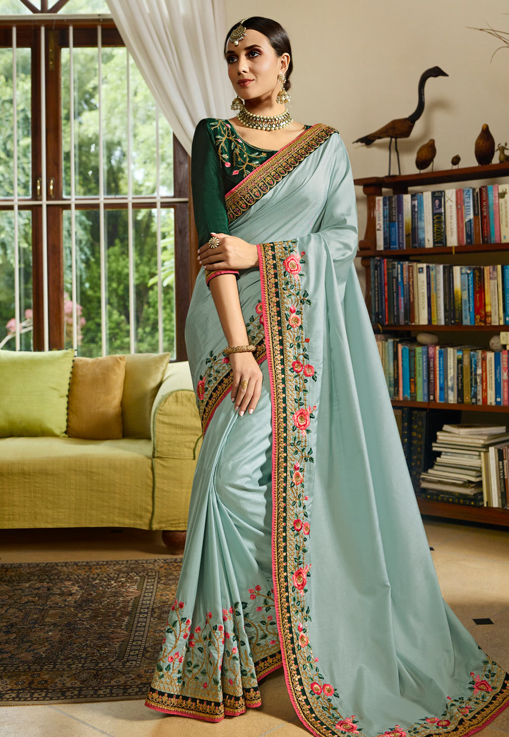 Light Blue Silk Embroidered Saree With Blouse 154623