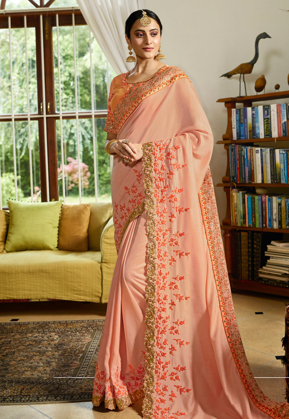 Peach Silk Festival Wear Saree 154624