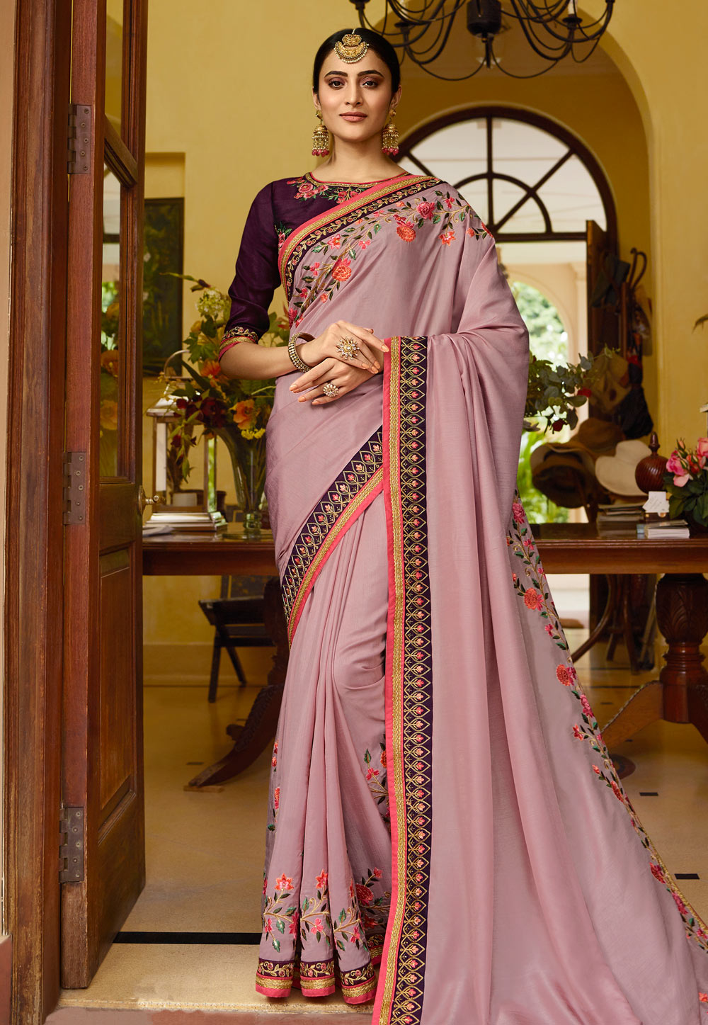Violet Silk Embroidered Saree With Blouse 154625