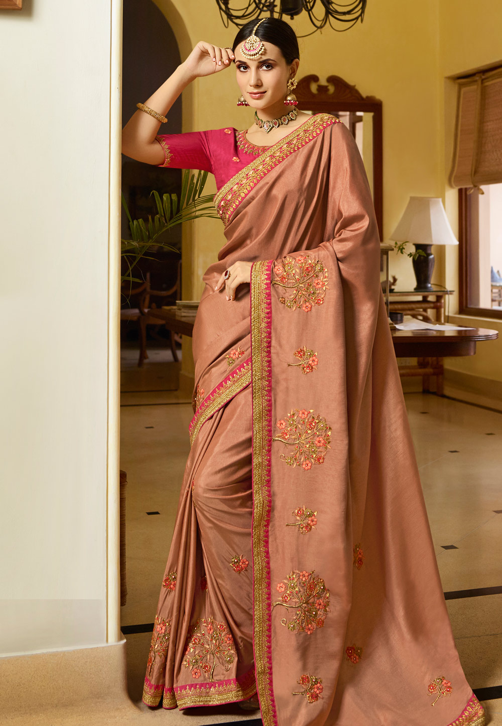 Dark Peach Silk Festival Wear Saree 154626