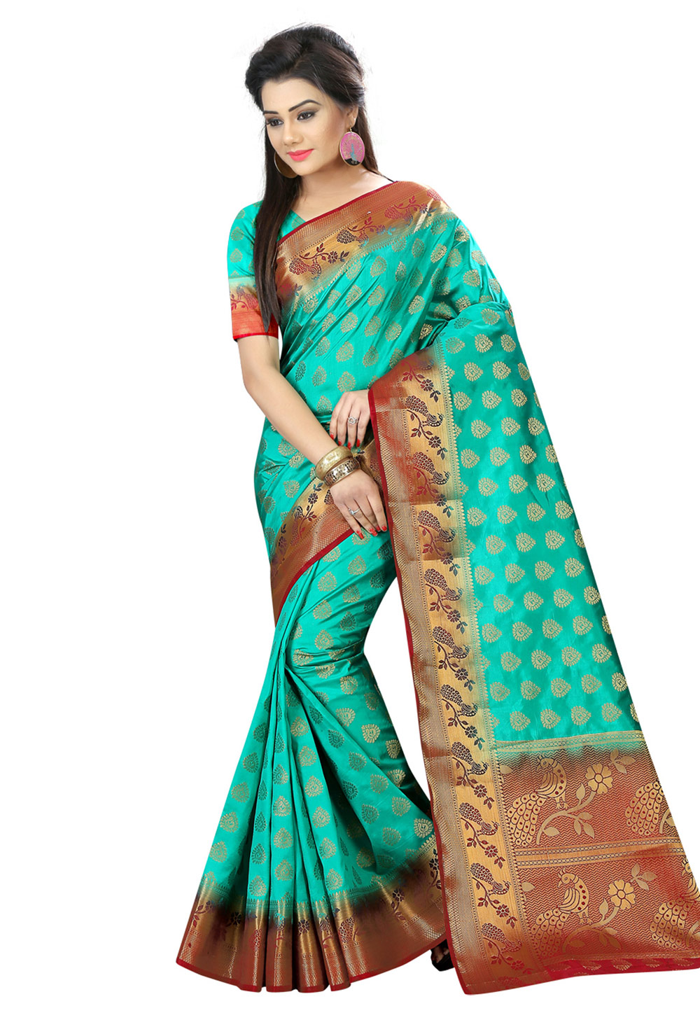 Turquoise Art Silk Festival Wear Saree 161793