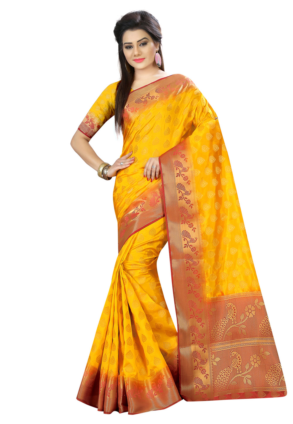Yellow Art Silk Festival Wear Saree 161797