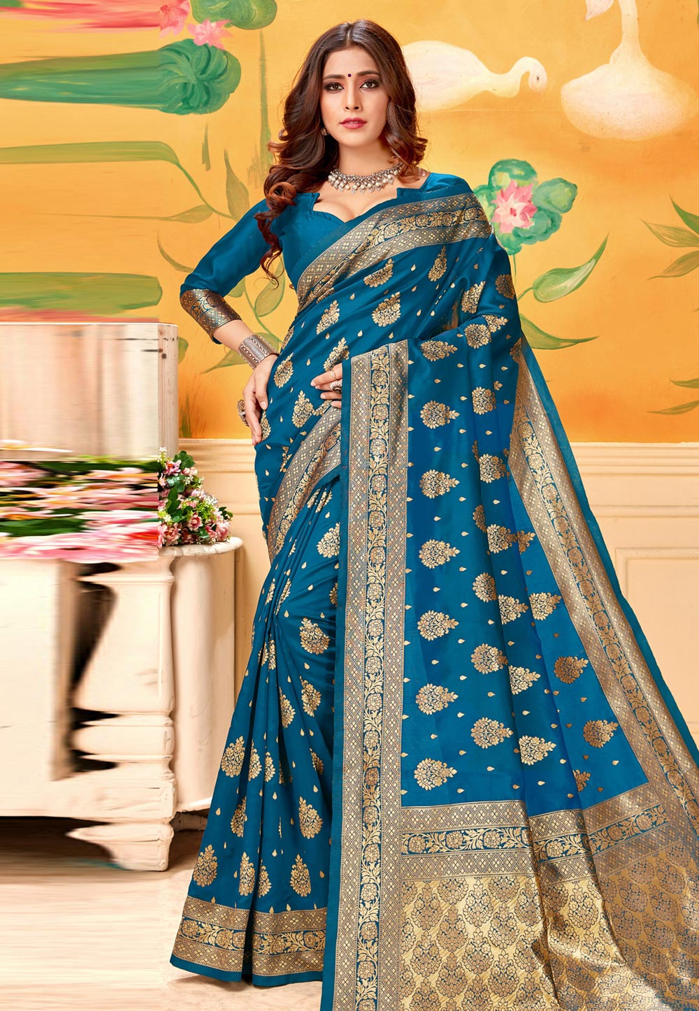 Blue Silk Saree With Blouse 193583