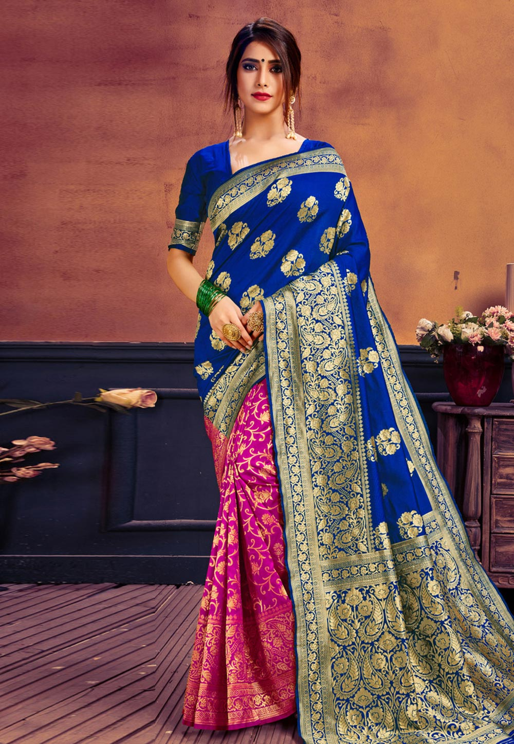 Blue Cotton Half and Half Saree 183743