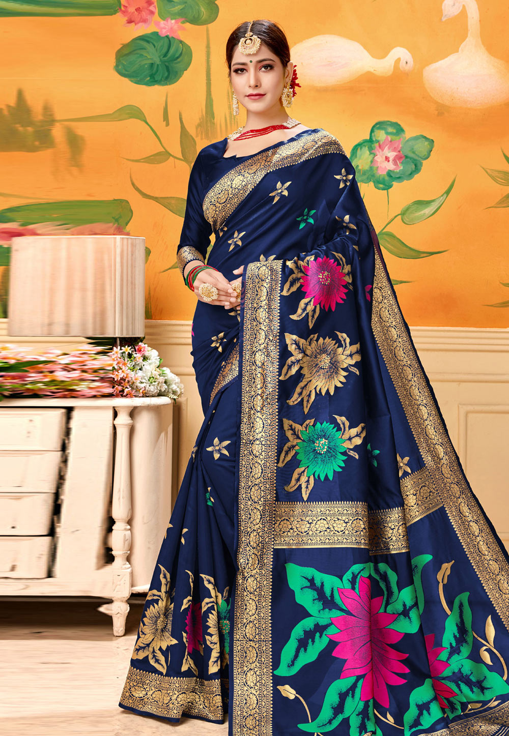 Navy Blue Silk Saree With Blouse 193585