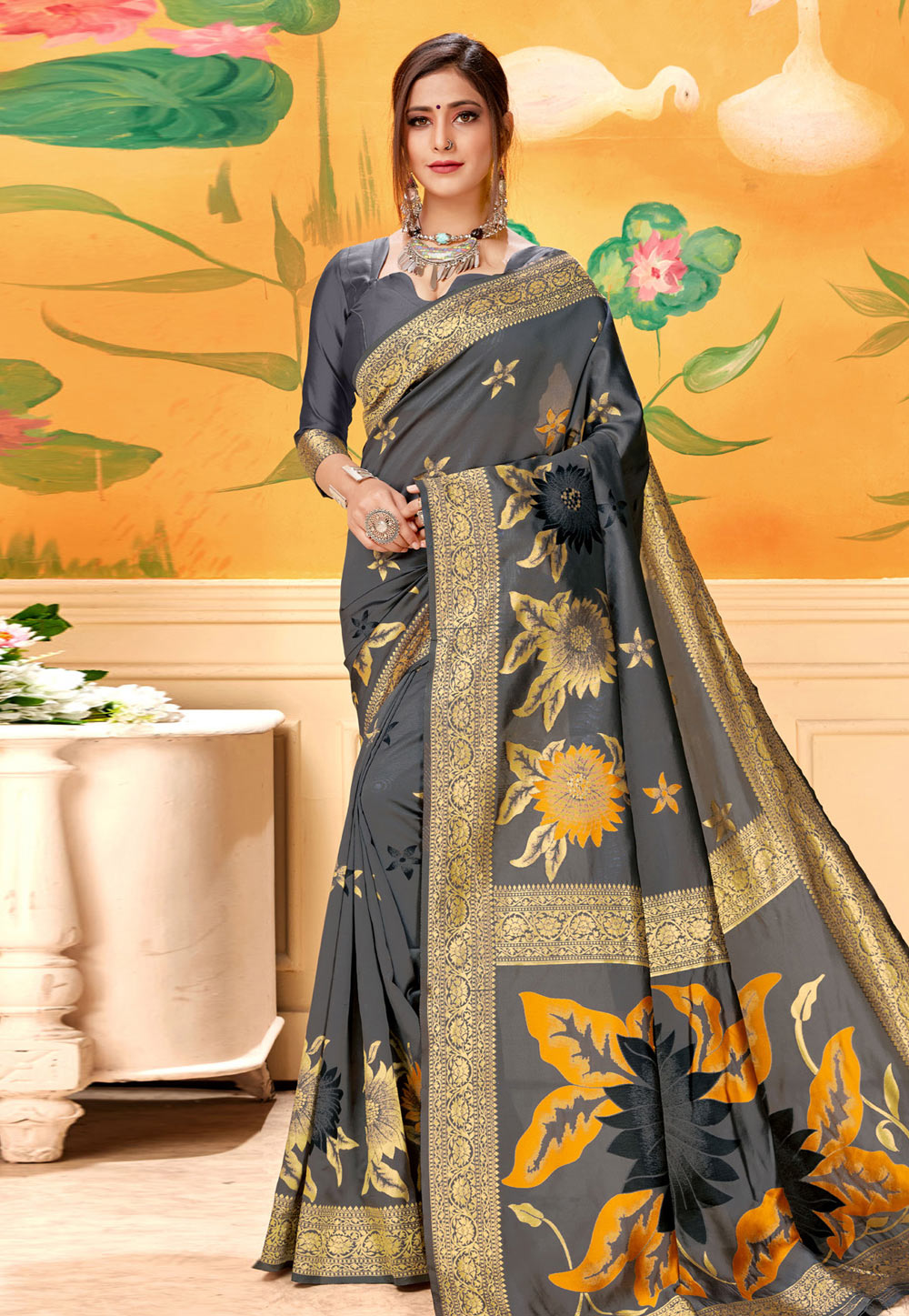 Grey Silk Festival Wear Saree 193586