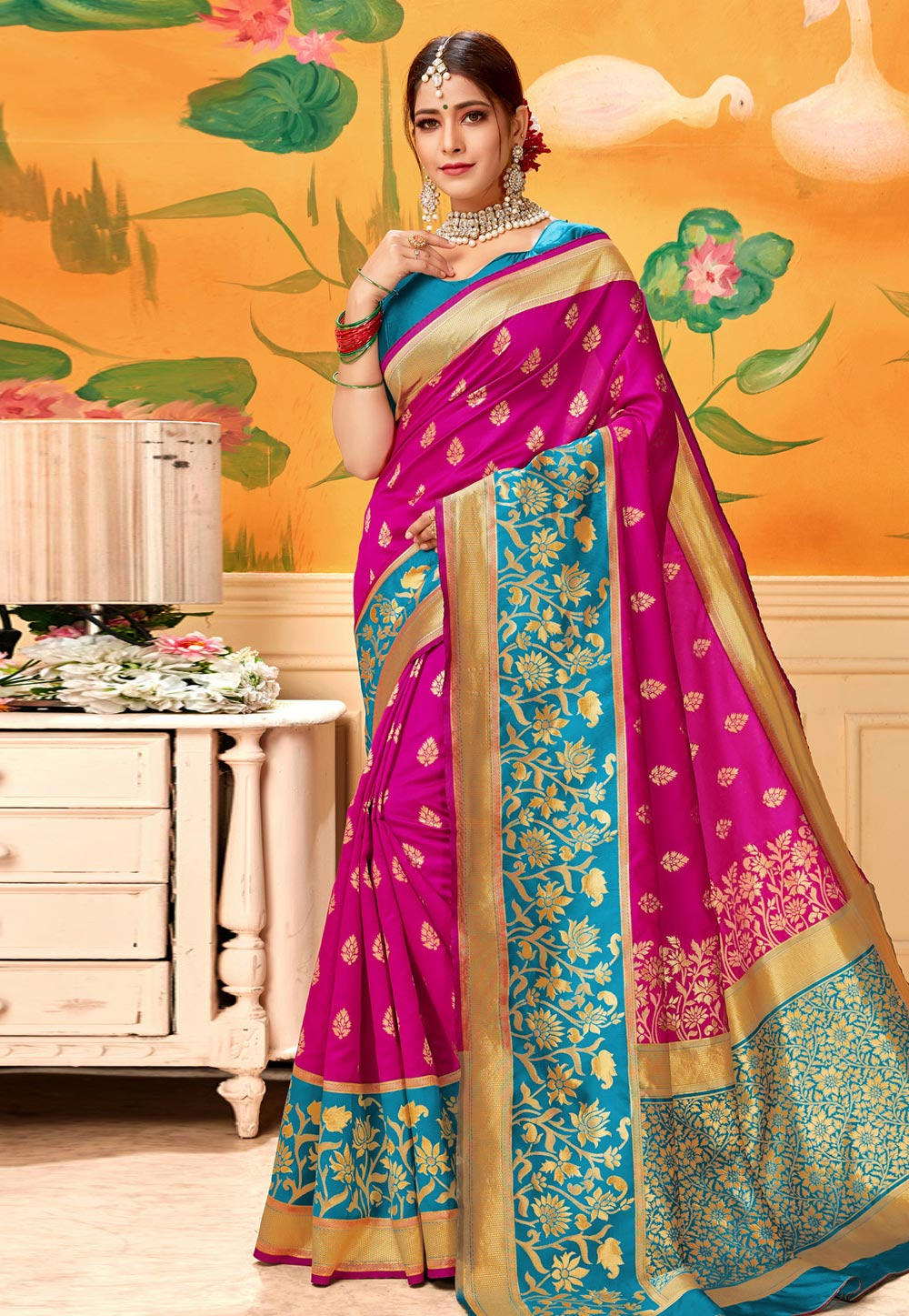 Magenta Silk Festival Wear Saree 193592