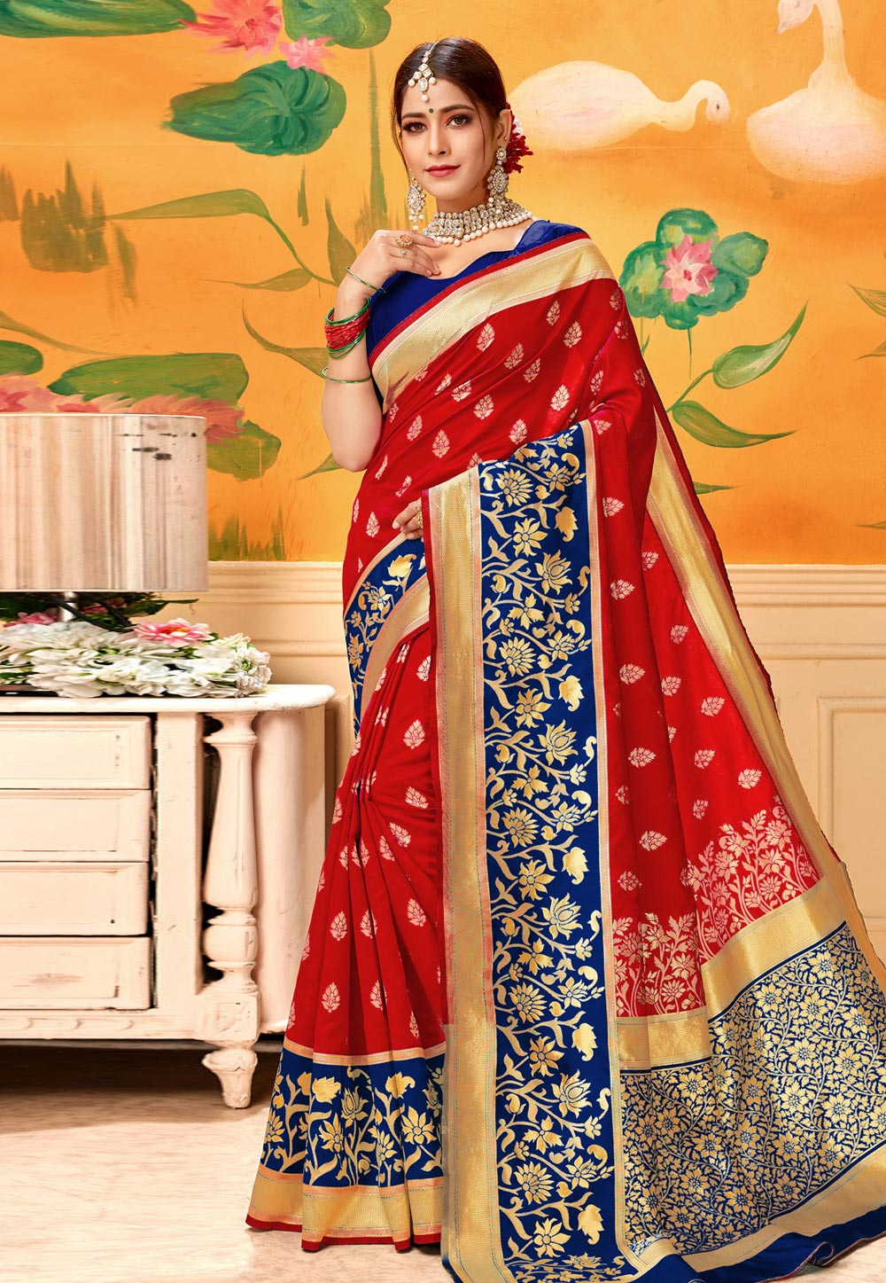 Red Silk Saree With Blouse 193593