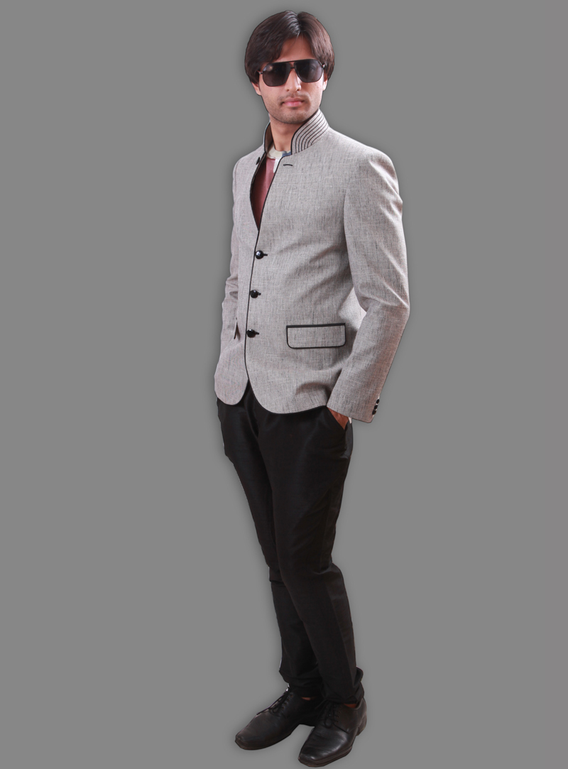 Off White Linen Readymade Blazer 124558