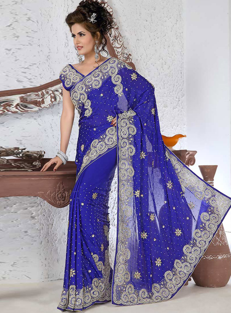 Royal Blue Georgette Stone Work Saree 115397