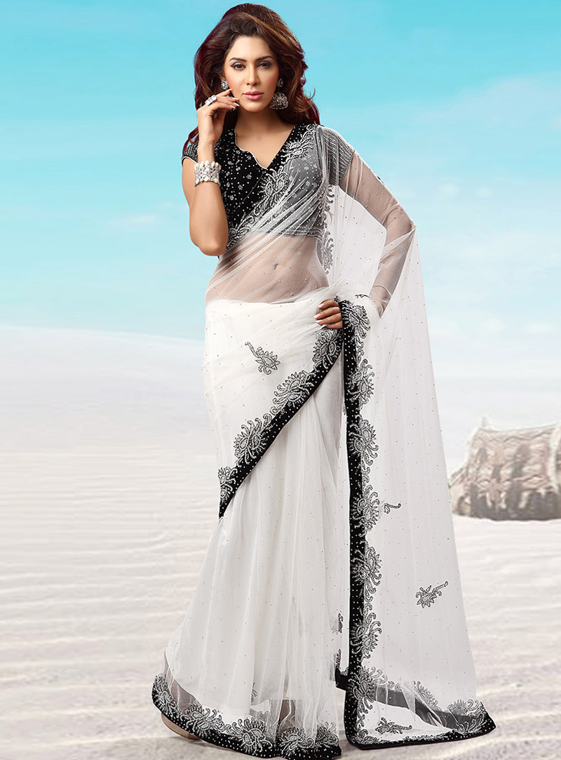 White Net Stone Work Saree 115412