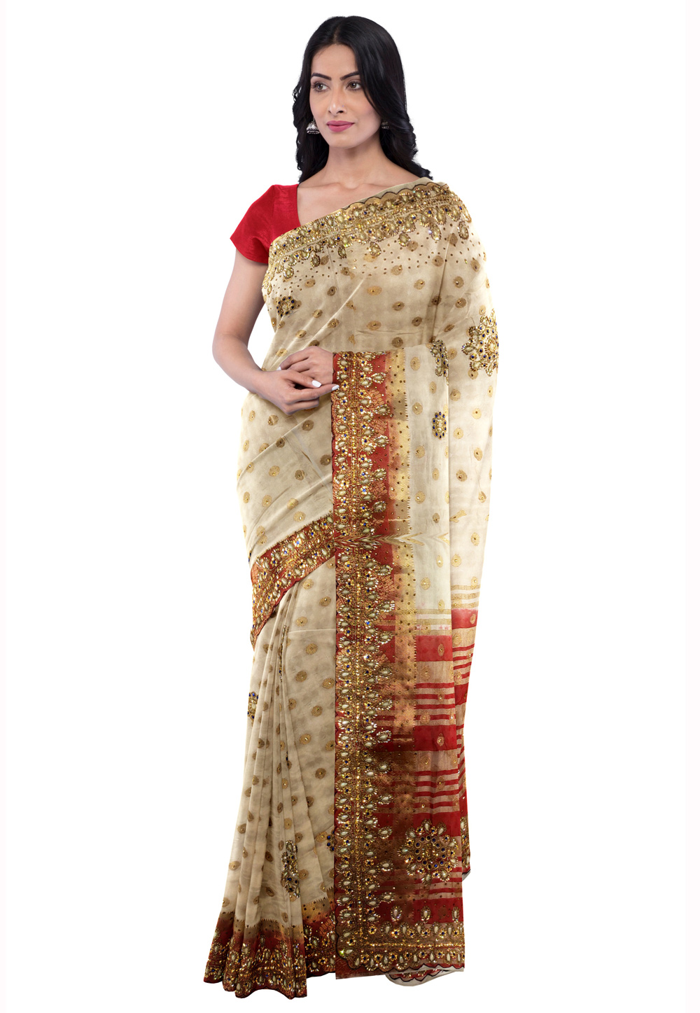 Beige Kanjivaram Silk Saree With Blouse 205642