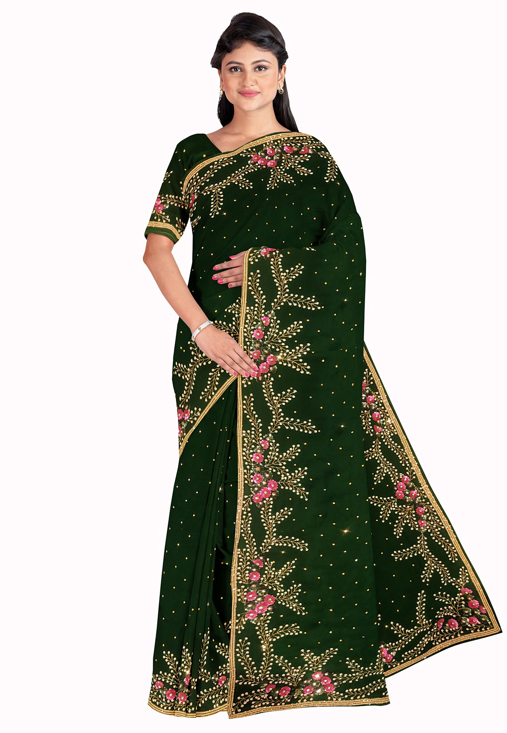 Green Georgette Saree With Blouse 205644