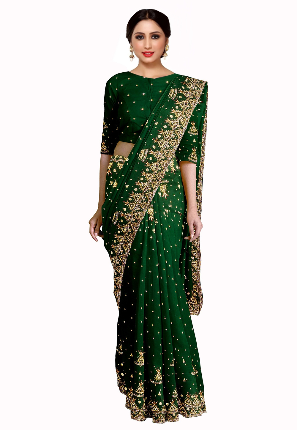Green Georgette Saree With Blouse 205650