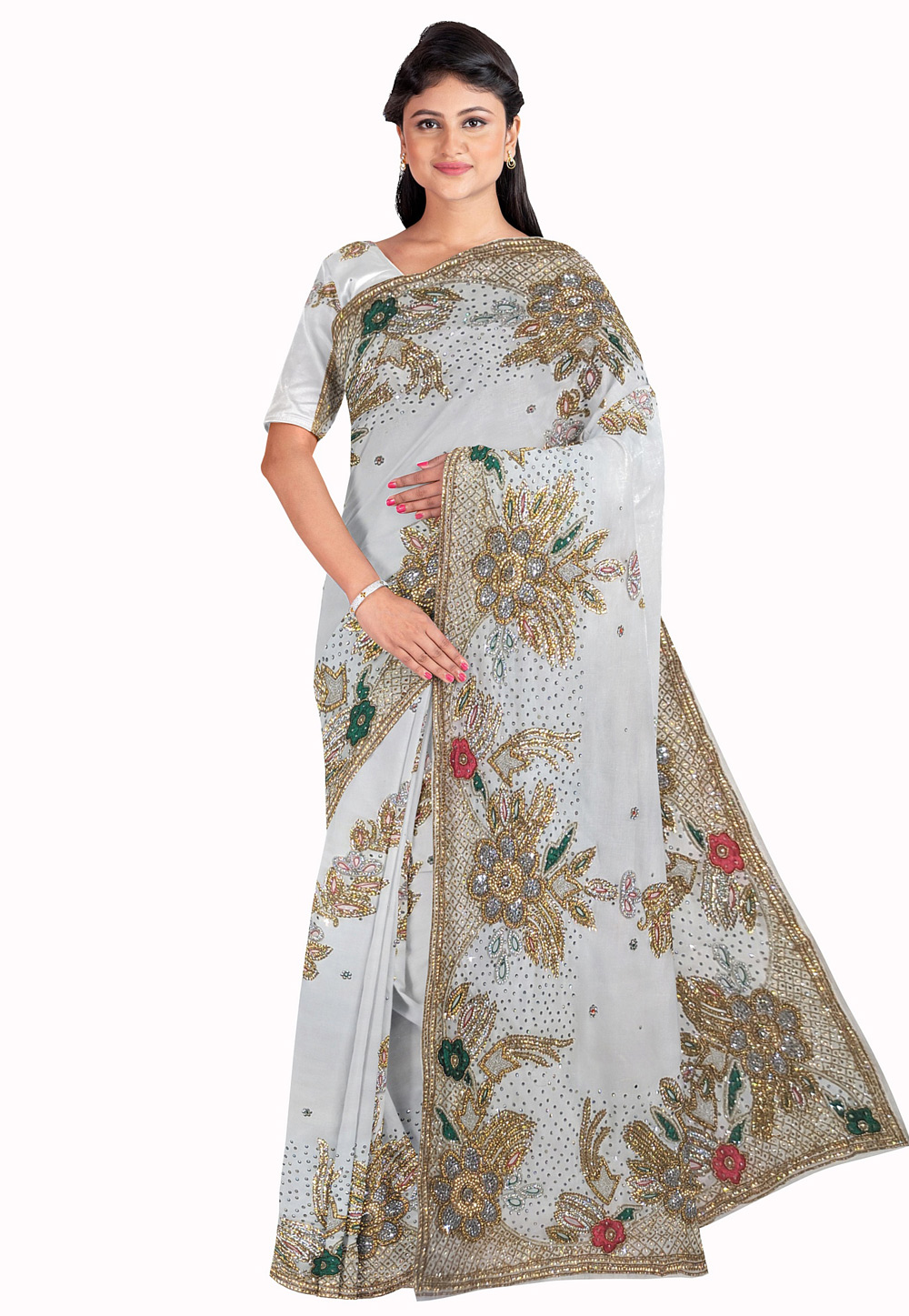 Grey Georgette Saree With Blouse 205654