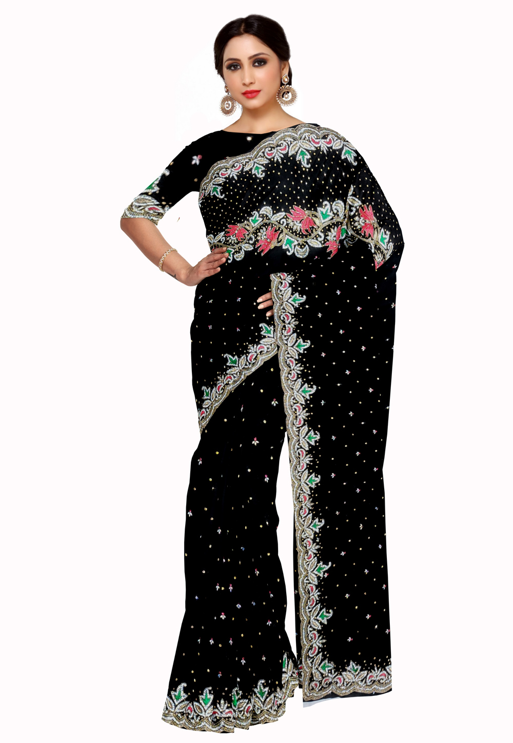 Black Georgette Saree With Blouse 205656